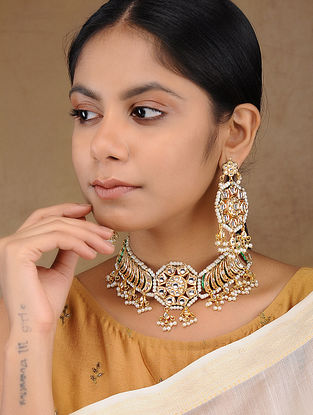 Green Gold Tone Kundan Inspired Pearl Necklace with Earring (Set of 2)