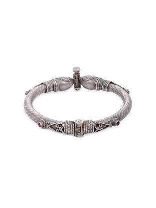 Pink Tribal Silver Hinged Bangle (Bangle Size: 2/4)