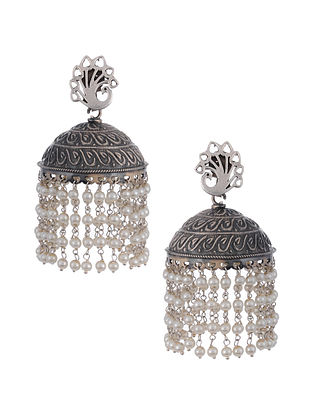 Tribal Silver Jhumki Earrings with Pearls