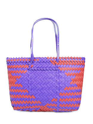 Purple-Red Handwoven Basket - 19in x 5in x 13in