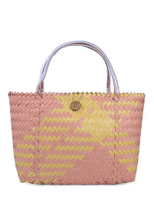 Peach-Yellow Handwoven Basket - 21in x 5in x 13.5in