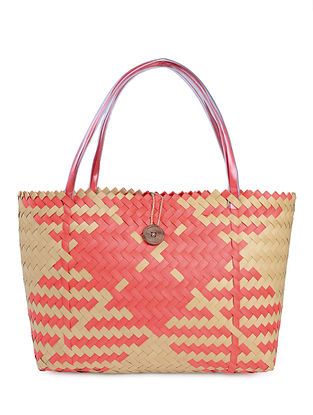 Red-Yellow Handwoven Basket - 20in x 6in x 14in