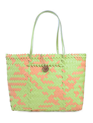 Green-Cream Handwoven Basket - 21in x 5.5in x 14in