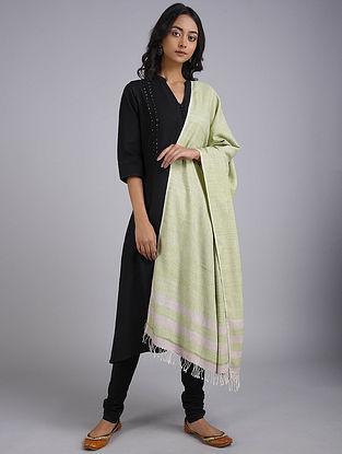 Green-Ivory Eri Silk Shawl