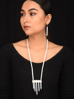 White Black Tribal Beaded Necklace With Earrings (Set Of 2)