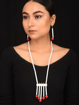White Red Tribal Beaded Necklace With Earrings (Set Of 2)
