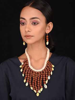 Brown White Handcrafted Necklace with Earrings (Set of 2)