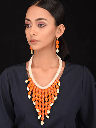 Orange White Handcrafted Necklace with Earrings (Set of 2)