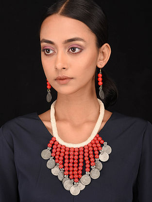 Red White Silver Tone Handcrafted Necklace with Earrings (Set of 2)