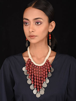 Maroon White Silver Tone Handcrafted Necklace with Earrings (Set of 2)