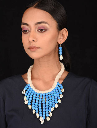 Blue White Handcrafted Necklace with Earrings (Set of 2)