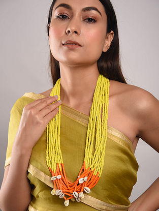 Yellow Orange Beaded Necklace With Shells