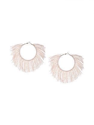 White Handcrafted Hoop Earrings