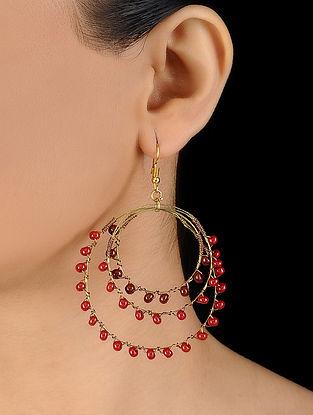 Red-Brown Glass Beaded Earrings