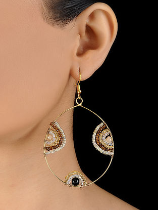 White-Yellow Glass Beaded Earrings