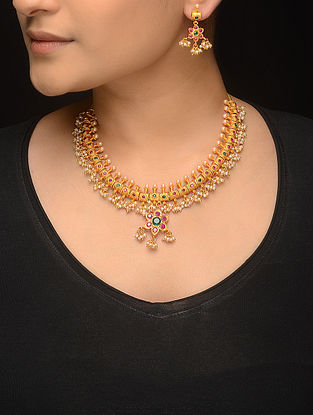 Pink-Green Gold-plated Pearl Beaded Necklace with a Pair of Earrings (Set of 2)