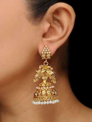 White Gold Tone Pearl Beaded Jhumkis with Peacock Design