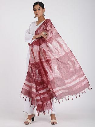 Red-Ivory Shibori-dyed Tussar Silk Dupatta