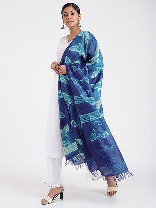 Blue-Ivory Shibori-dyed Tussar Silk Dupatta