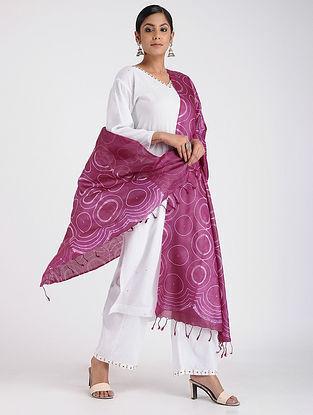 Purple-Ivory Shibori-dyed Tussar Silk Dupatta
