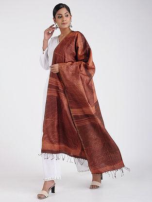 Maroon Shibori-dyed Tussar Silk Dupatta with Zari Border