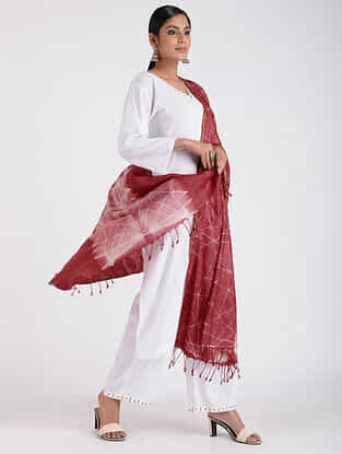 Red-Ivory Shibori-dyed Tussar Silk Dupatta with Zari Border