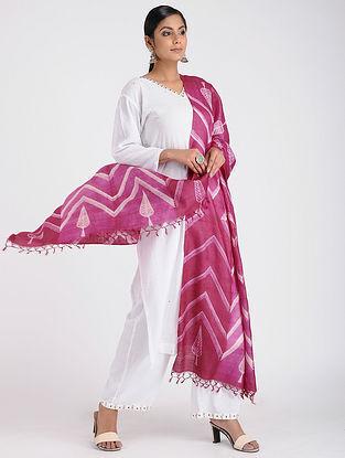 Pink-Ivory Shibori-dyed Tussar Silk Dupatta