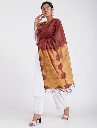 Red-Yellow Shibori-dyed Tussar Silk Dupatta