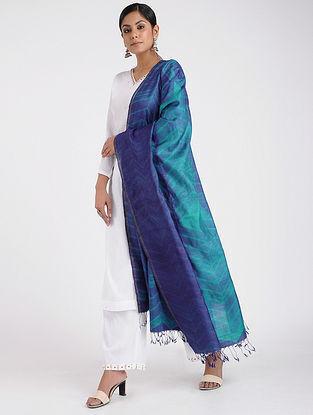 Blue Shibori-dyed Tussar Silk Dupatta with Zari Border
