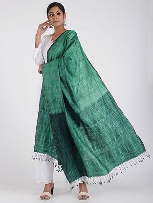 Green Shibori-dyed Tussar Silk Dupatta with Zari Border