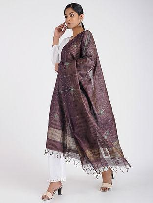 Maroon Shibori-dyed Tussar Silk Dupatta