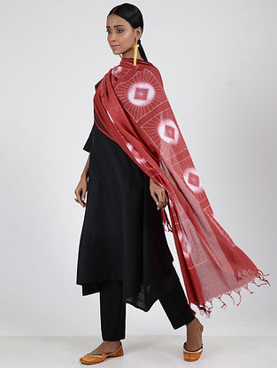 Red-Ivory Shibori-dyed Cotton Dupatta with Woven Border