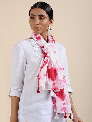 Ivory-Red Shibori dyed Cotton Dobby Stole