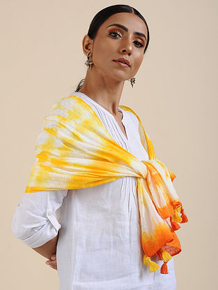 Ivory-Yellow Shibori dyed Cotton Dobby Stole