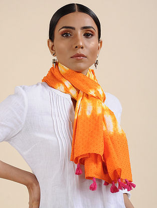 Orange-Yellow Shibori dyed Cotton Dobby Stole