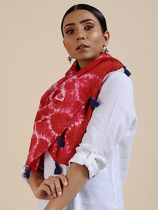 Red-Ivory Shibori dyed Cotton Dobby Stole