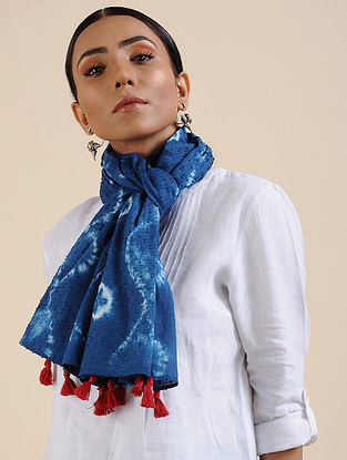 Blue-Ivory Shibori dyed Cotton Dobby Stole