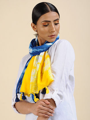 Blue-Yellow Shibori dyed Cotton Dobby Stole