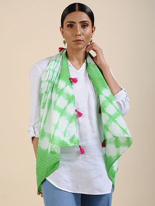 Green-Ivory Shibori dyed Cotton Dobby Stole