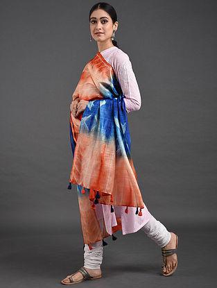 Blue-Orange Shibori Tussar Muga Silk Dupatta