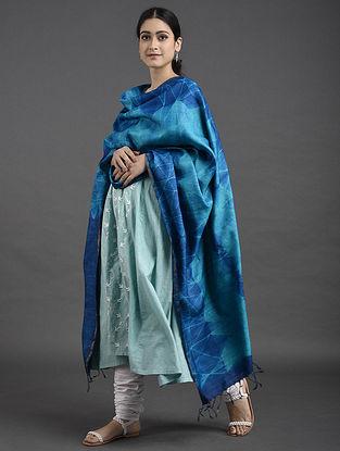 Blue-Green Shibori Tussar Muga Silk Dupatta