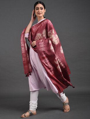 Pink Shibori Tussar Muga Silk Dupatta