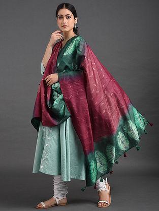 Pink-Green Shibori Tussar Muga Silk Dupatta