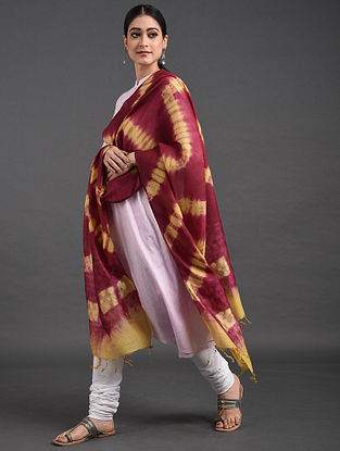 Red-Yellow Shibori Tussar Noil Silk Dupatta