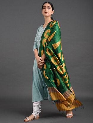 Green-Yellow Shibori Dupion Silk Dupatta