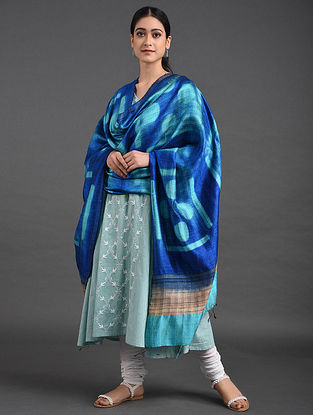 Blue-Brown Shibori Dupion Silk Dupatta