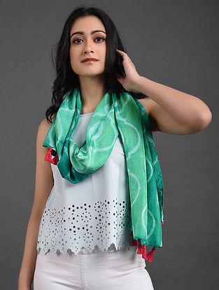 Green Shibori Habutai Silk Stole