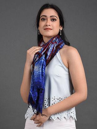 Blue-Brown Shibori Tussar Ghicha Silk Stole