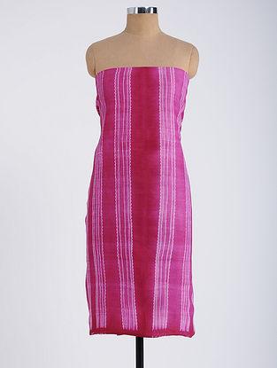 Red-Pink Shibori-dyed Tussar Muga Silk Kurta Fabric