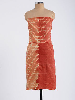 Peach-Red Shibori-dyed Tussar Muga Silk Kurta Fabric